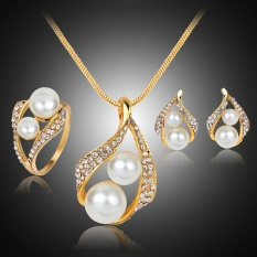 Bridal Wedding Party Jewelry Set Crystal Pearl Necklace Earrings Ring - intl