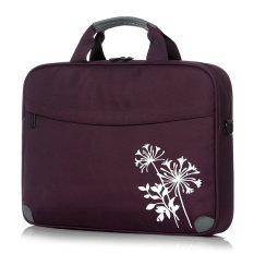 BRINCH® Fashion Nylon Pola Bunga Putih 14 Inch Padded Carrying Lengan Laptop Messenger Bag Single Shoulder Briefcase untuk Up untuk 14.1 Inch Laptop (Ungu) (Intl)