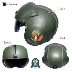 Toko Broco Handmade Helm Pilot Kaca Retro Klasik Garuda Full Synthetic Leather Hijau Murah Di Jawa Timur