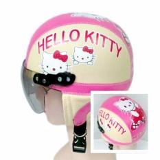 Broco Helm Anak anak broco retro kaca riben lucu usia 1 sampai 4 tahun Motif Sweet Cat - Pink/Cream