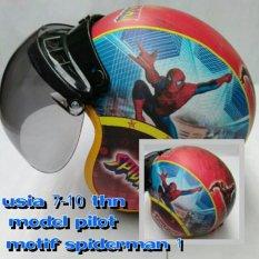 Broco Helm Anak lucu usia 7 sampai 10 tahun Motif Pilot Spiderman