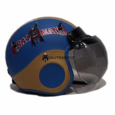 Broco Helm anak pororo lucu retro klasik kaca bogo usia 3 sampai 6 tahun motif Batman - Biru