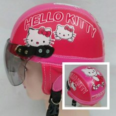 Broico Helm Anak anak broco retro kaca riben lucu usia 1 sampai 4 tahun Motif Hello Kitty - Pink/Merah