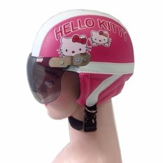 Broico Helm Anak anak broco retro kaca riben lucu usia 1 sampai 5 tahun Motif Hello Kiti - Pink/Putih