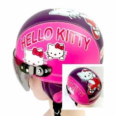 Broico Helm Anak anak broco retro kaca riben lucu usia 1 sampai 4 tahun Motif Hello Kitty - Pink/Ungu Tua