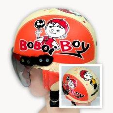 Broico Helm Anak Chip/retro/sincan lucu usia 1 - 4 tahun Motif Boboi Boy Orange Cream
