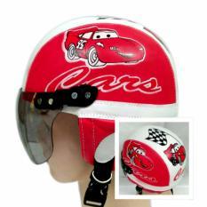 Broico Helm Anak Chip/retro/sincan lucu usia 1 - 4 tahun Motif Cars Merah Putih