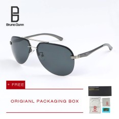 Bruno Dunn 2019 new fashion men's women's polarized sunglasses titanium original ladies sun glasses brand designer aviation eyewear 143 (grey frame black lense)