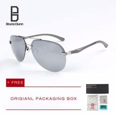 Bruno Dunn 2017 Polarized Sunglasses Pria Wanita Titanium Lensa Cermin Pria Kacamata Merek Desainer Kacamata Aviator Rimless Eyewear 143 (Silver Frame Silver Lense)