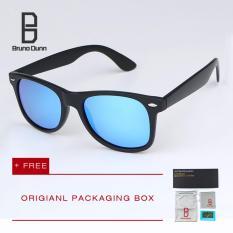 Bruno Dunn Fashion Polarized Sunglasses 2017 New woman's men's Brand Designer Retro Sun Glasses for Ladies Male Eyewear Ray 2140 (black frame blue lense)