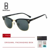 Ulasan Bruno Dunn Luxury Metal Men Women Retro Brand Designer Sunglasses Fashion Sun Glasses Female Round Vintage Sunglases 3016 Black Frame G15 Lens