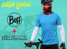 Buff Bandana Dan Manset Tangan Full Print Paket Gowes By Toyo Deal Shop.