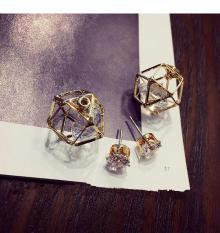 BURNING SECRET Anting Tusuk Panjang Depan Belakang Bentuk Geometric isi Diamond