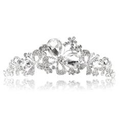 Pola Kupu-kupu Tiara Mahkota Berlian Imitasi untuk Pernikahan Pengantin Prom-Intl