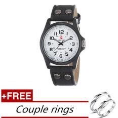 Beli Beli 1 Mendapatkan Gratis 1 Swiss Army Jam Tangan Pria Leather Strap Watch Hitam Putih Gratis Beberapa Cincin Intl Secara Angsuran