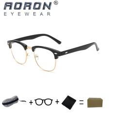[beli 1 gratis 1 Freebie] AORON kacamata membaca merek Retro kacamata komputer anti radiasi anti cahaya biru 5162 (hitam)