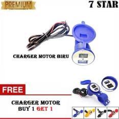 BUY 1 GET 1 USB Charger Motor Waterproof Cas HP Untuk di motor - Biru