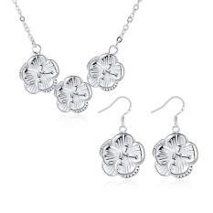 Beli Perhiasan Set Blackhorse Online Women Romantis Tembaga Partai Kalung/Anting Kalung Anting Tanaman Silver Berlapis-Internasional