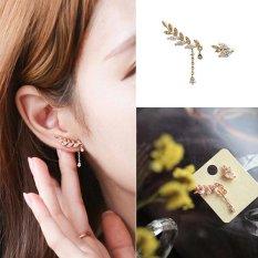 Buy In Coins 1 Pair Wanita Baru Asimetri Daun Crystal Rhinestone Ear STUDS Drop Earrings Gold-Intl