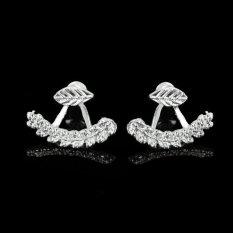 BUY IN COINS 1 Pasang Perempuan Manis Emas Perak Daun Giwang Di Depan dan Belakang Hadiah Perhiasan Anting-anting