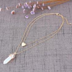 BUY IN COINS Fashion Berbalut Emas Jantung Crystal Opal Batu Alam QUARTZ Liontin Kalung Double Layer Choker Kerah Perhiasan (Putih Turquoise) -Intl