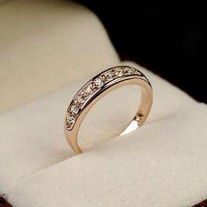 BUY IN COINS Emas 18 K Rose GP Elegan Classic Crystal Fashion Bridal Jari Cincin Hadiah