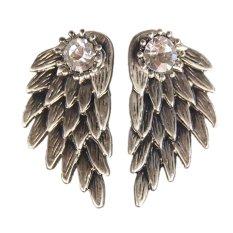 Buytra 1 pasang Pretty Wanita Cool Perhiasan Angel Wings Berlian Imitasi Paduan Jatuhkan Anting tindik Perak Kuno