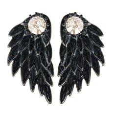 Buytra 1 Pasang Cantik Wanita Cool Perhiasan Angel Wings Berlian Imitasi Paduan Jatuhkan Anting Tindik Hitam