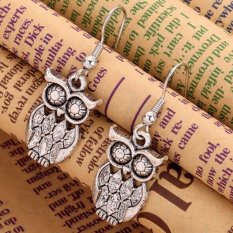Buytra Dangle Earrings Silver Plated Big Owl Charm Ear Stud Hook Girl Gift Wedding