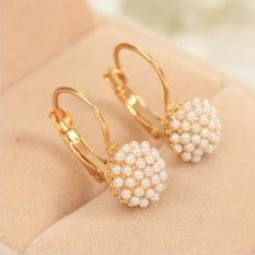Buytra Perempuan Pearl Yang Elegan Anting-Anting Chic Tindik Telinga Manset Manik-Manik Emas Berlapis Jatuhkan Anting Emas