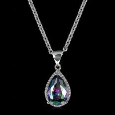 BYT Platinum Disepuh Y Tipe Ladies Pendant Necklace dengan Colorful Bentuk Hati Zirkon Crystal