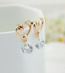 CADIS 24 K Berlapis Emas Keindahan Gloden Double Heart Perhiasan Anting-Intl