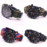 Jual Camping Survival Paracord Quartz Wrists Watch Compass Flint Fire Starter Whistle Intl Import