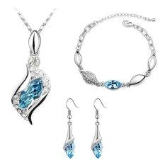 Harga Termurah Cannice Set Perhiasan Austrian Vintage Aquamarine