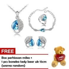 Cannice Set Perhiasan lengkap Kalung anting gelang model austrian heart leaf free boneka tedy bear