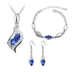 Cannice Set Perhiasan lengkap Kalung anting gelang model austrian vintage