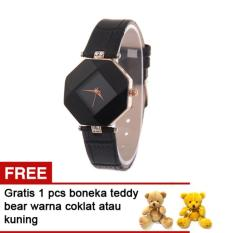 Jual Cannies Buy1Get1Free Jam Tangan Rhombus Black Free Teddy Bear Murah Indonesia
