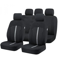 Car Seat Covers, Unique Flat Cloth Fabric Seat Covers Breathable Full Set Front Back Cover with 5 Detachable Headrests - Fit Most Car, Truck, Suv, or Van
