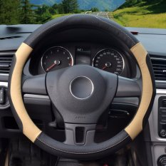 Miliki Segera Car Steering Wheel Covers Diameter 14 Inch Kulit Pu For Musim Penuh Hitam Beige S Intl