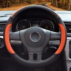 Beli Car Steering Wheel Covers Diameter 14 Inch Kulit Pu Untuk Musim Penuh Hitam Dan Oranye S Intl Murah Tiongkok