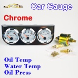 Toko Car Triple Guage Kit 52Mm 2 Oil Temp Water Temperature Oil Press Gauges Chrome Bezel 3 In 1 Car Meters Dashboard Intl Yang Bisa Kredit
