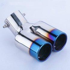 Mobil Vhielce Twins Melengkung Knalpot Tip Belakang Pipa Muffler Silencer Stainless Steel Intl Asli