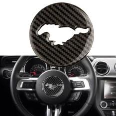 Carbon Fiber Interior Steering Wheel Decor Trim Sticker Ford Mustang 2015-2017-Intl