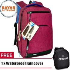 Carboni Make My Day Original Casual Backpack Laptop Sistem RA00013 17 - Red + Raincover waterproop