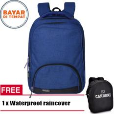 Carboni Make My Day Original Casual Backpack Laptop Sistem RA00015 17 - Blue +Raincover waterproop