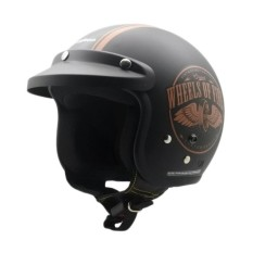 Review Cargloss Retro Army Helm Half Face Wheels Black Doff