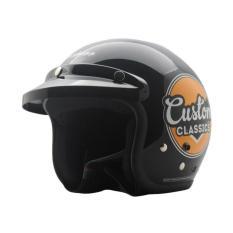 Diskon Cargloss Retro Custom Classic Helm Half Face Deep Black Akhir Tahun