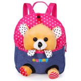 Spek Kartun Anak Anak Sch**l Bags Baby Backpack Tas Boneka Travel Backpack Red Bear