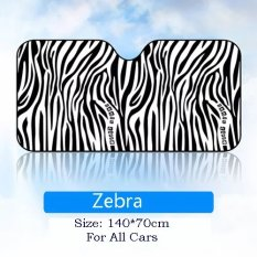 Kartun Window Foils Sun Shade Car Windshield Visor Cover Block Jendela Depan Kaca Uv Melindungi Film Jendela Mobil Mobil Styling Zebra Asli