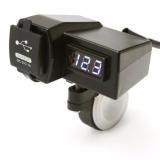 Beli Casan Hp Di Stang Motor Universal Dual Usb Charger Voltmeter Terbaru
